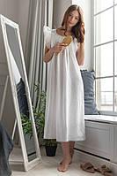 Белая ночная рубашка с хлопковым кружевом, фото 1