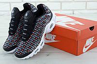 """3ad2d071 Кроссовки мужские в стиле Nike Air Max Plus """"Just Do It"""", тектсиль,  текстиль код KD-11693. Черно-белые 44"""