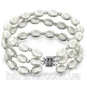 Браслет тройной из белого жемчуга Lambre - 142239