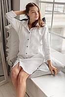 Белая льняная рубашка с кокосовыми пуговицами, фото 1