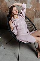 Льняная рубашка цвета пыльной розы, фото 1