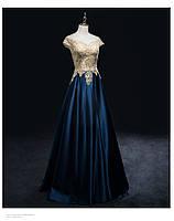 Синее атласное платье вечернее.Выпускное платье синее  и изумруд блестящее в пол. Вечірня сукня синя