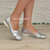 Балетки кожаные женские летние, цвет серебро, фото 1