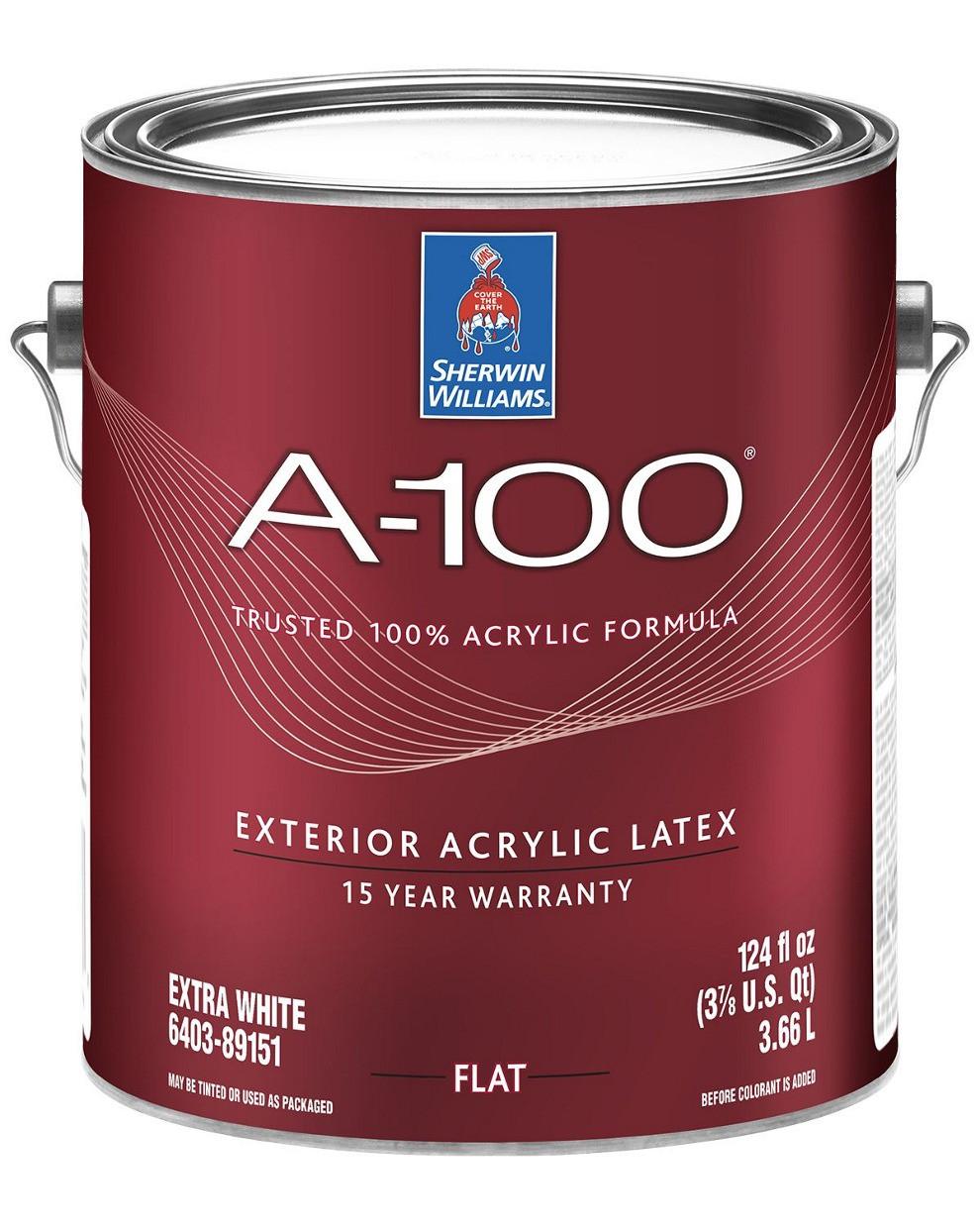 Краска A-100 Sherwin-Williams глубокоматовая фасадная экстра белая, 3,66л (шервин вильямс a-100)