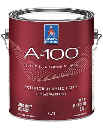Краска A-100 Sherwin-Williams глубокоматовая фасадная экстра белая, 3,66л (шервин вильямс a-100), фото 2