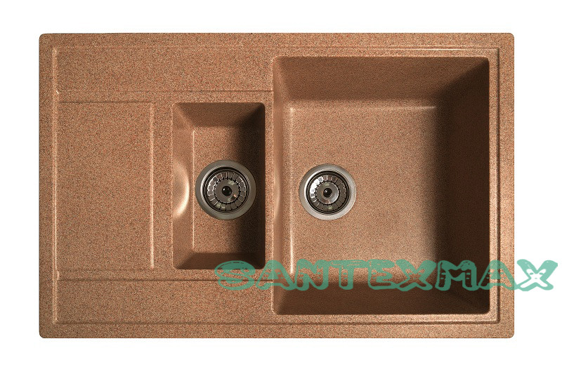 Кухонная каменная мойка Solid Практик терракот ( гранит ) 78x51