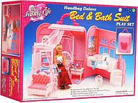 Мебель для кукол Gloria Глория 9988 Домик в сумочке Мадам Барби спальня с ванной комнатой, в чемоданчике