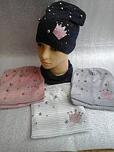 Шапочка  люрекс с шарфиком баф для девочки