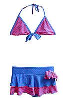 Раздельный детский купальник с юбкой Малина+синий, фото 1