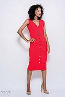 5503ef0bc94f988 Красное обтягивающее трикотажное платье с V-образным вырезом и декором из  декоративных пуговиц по всей