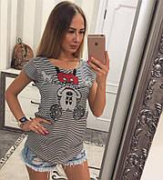 """Футболка женская коттоновая """"Микки полоса"""""""