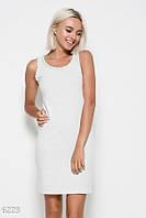 1195dee9a1da803 Светло-серое трикотажное обтягивающее платье без рукавов с жемчужинами на  проймах