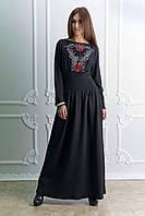 Платье в пол-макси черное с вышивкой
