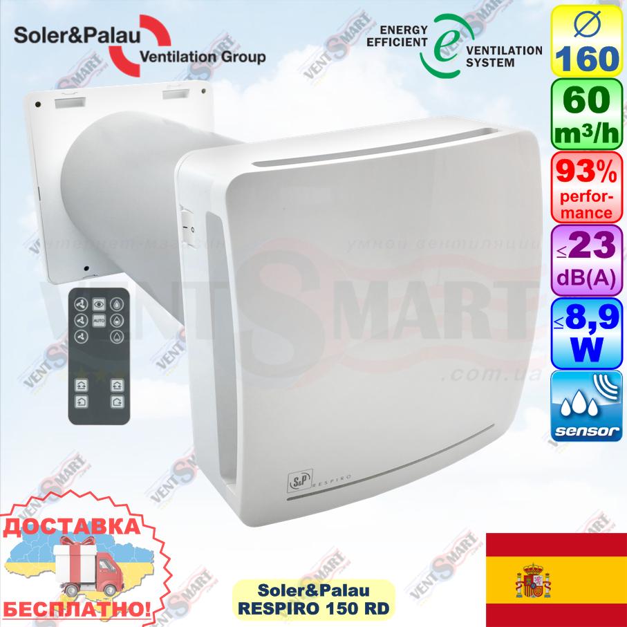 Soler&Palau RESPIRO 150 RD проветриватель с рекуперацией (Испания)