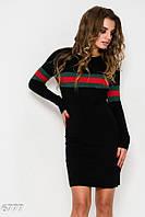 Черное комфортное демисезонное платье прямого кроя с красно-зелеными полосами
