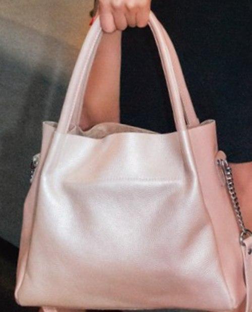 63793b624a82 Стильная женская розовая сумка из натуральной мягкой кожи