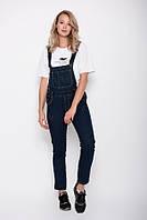 Синий джинсовый комбинезон с небольшими потертостями