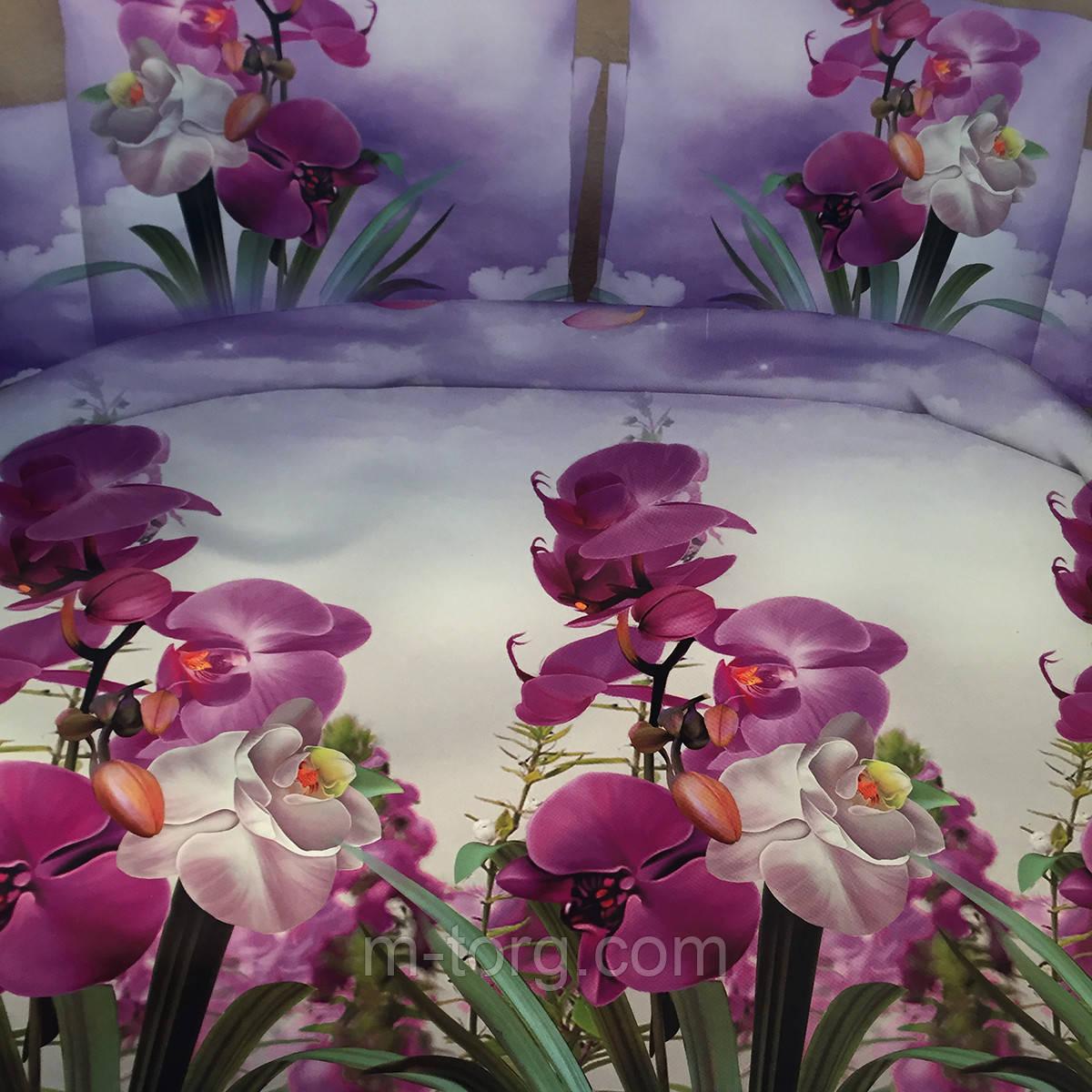 """""""Орхидеи""""Комплект постельного белья двуспальный 180/220, нав-ки 70/70, ткань поплин, 100% состоит из хлопка"""
