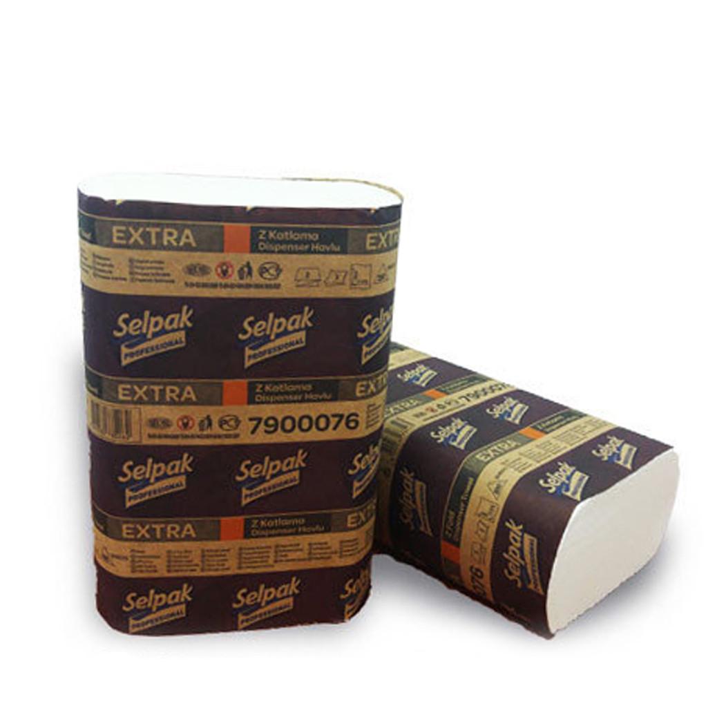 Полотенце бумажное, Selpak Extra, Z-сложение, целлюлозное, 2-х сл., 200 л/уп.
