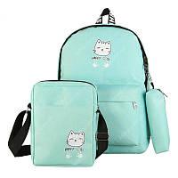 2c7f0faf875c Бирюзовый Набор рюкзаков 3в1 для повседневного использования Счастливый Кот  Happy Cat