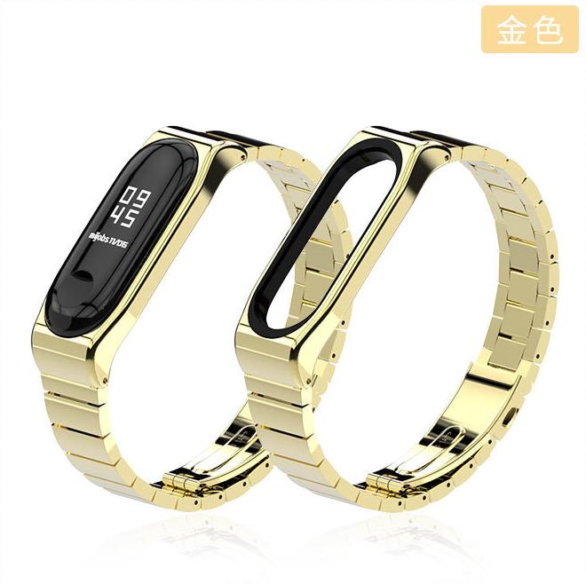 Ремешок Xiaomi Mi Band 4 / 3 MiJobs Metal Pro металлический крупное звено Золотой [1784]