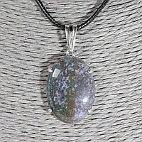 Агат моховый, 25*18 мм., серебро, кулон, 1014КЛА