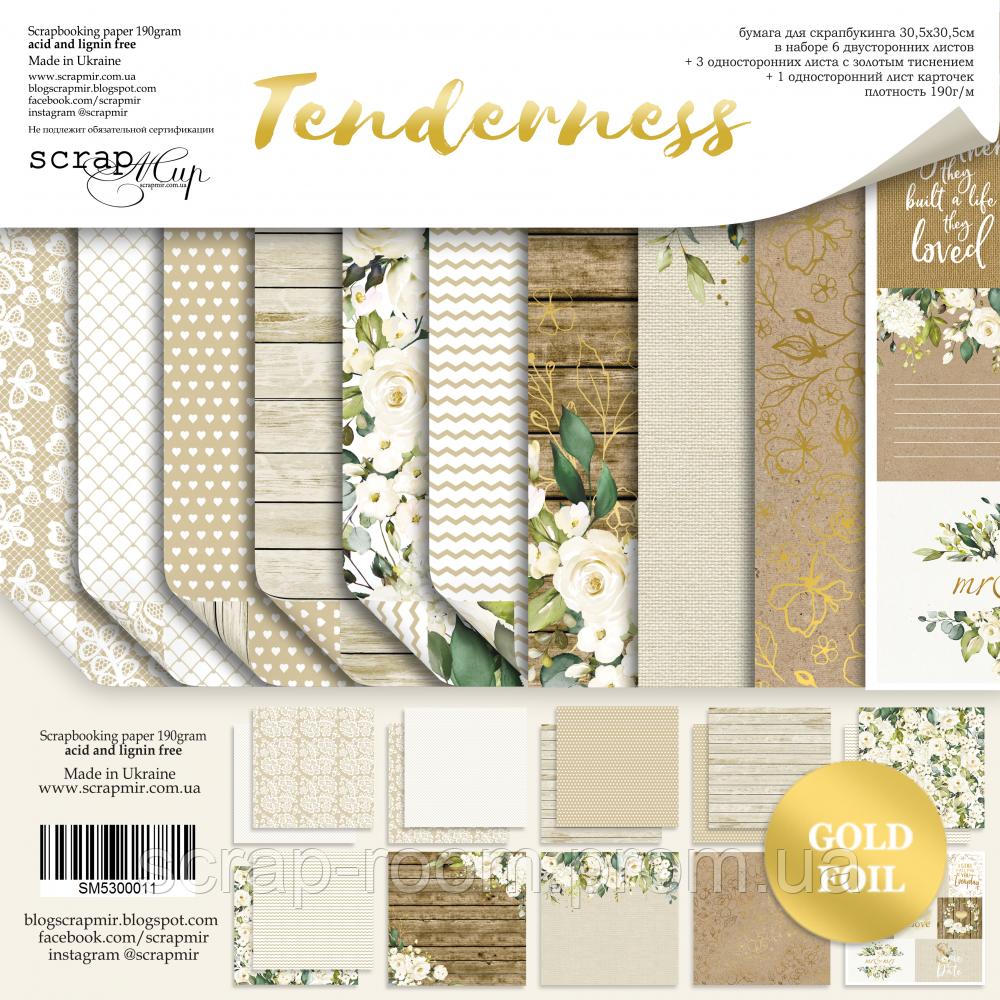 Набор двусторонней бумаги с золотым тиснением 30х30см от Scrapmir Tenderness, новинка коллекция  Tenderness