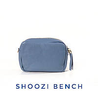 Женская сумочка из натуральной кожи с кисточками голубая