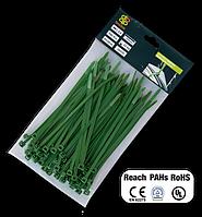 Стяжки кабельные многоразовые, пластиковые, GREEN, 4,8*300 мм, TS1248300G