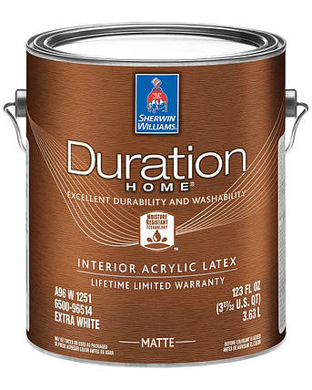 Краска Duration Home Matte Sherwin-Williams интерьерная экстра белая матовая, 3,63л (дюрейшн шервин вильямс), фото 2