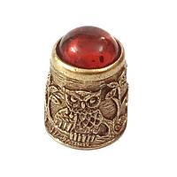 Наперсток из бронзы и янтаря Сова №1552
