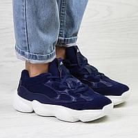 Подростковые кроссовки 7535 Adidas Yeezy 500 Синие заказать интернет магазин дёшево