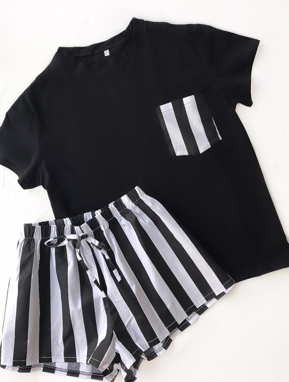 Пижама футболка и шорты S-M черная полоска