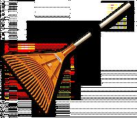 Грабли веерные — 22 зубца, черенок деревянный, KT-CX22B