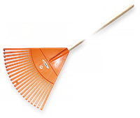 Грабли веерные - 22 зубца, черенок деревянный, KT-CX22H