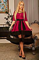 Вечернее платье миди с красивой юбкой солнце клеш фуксия размер 42-52