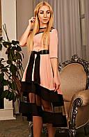 Женское платье-асимметрия с поясом пудровое размер 42-52
