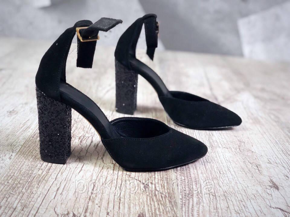 1d3fa0b72 Потрясающие женские замшевые туфли на декорированом каблуке колодка черные
