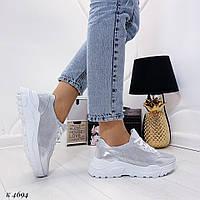 Стильные женские кроссовки  серебристые нат. кожа, фото 1