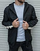 Мужской ветровка черная с капюшном и полосами на рукавах ( куртка мужская черная ) весна осень лето 2 ЦВЕТА