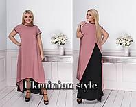 Батальное свободное ассиметричное двухцветное летнее платье в пол. 4 цвета., фото 1