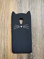 Объемный 3D силиконовый чехол для Meizu M3s Усатый кот черный