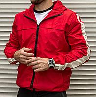 Мужской ветровка красная с капюшном и полосами на рукавах ( куртка мужская черная ) весна осень лето 2 ЦВЕТА