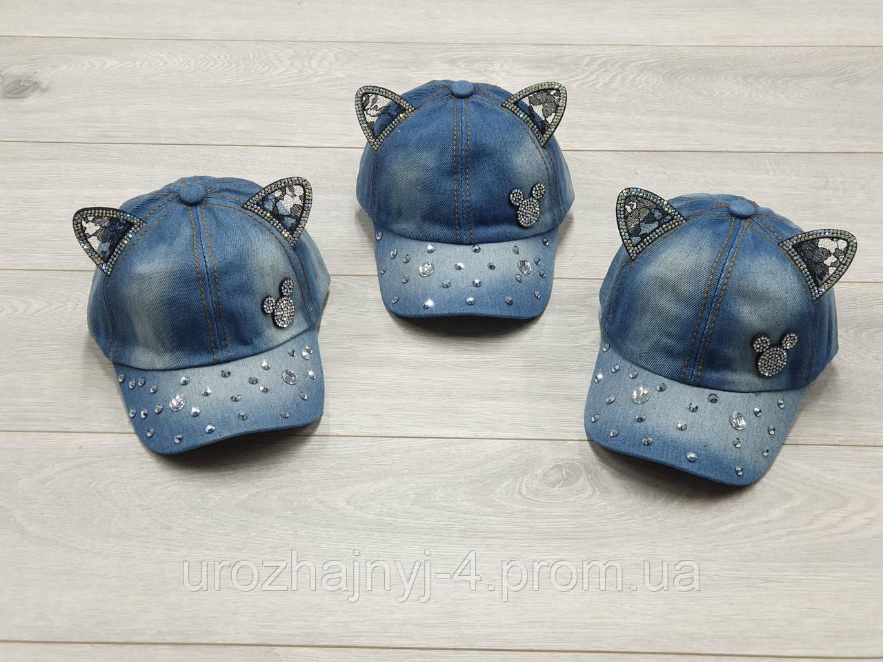 Джинсова кепка для дівчаток міні маус р48-50.