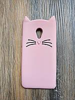 Объемный 3D силиконовый чехол для Meizu M3s M3 mini Усатый кот розовый