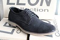 Мужские туфли из натуральной замши leon 233 черный замш