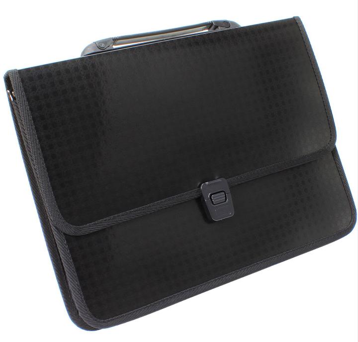 """Портфель на застібці, фактура """"Вишиванка"""" """", чорний E31641-01"""