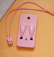 Чехол Funny-Bunny 3D для Meizu M3 / M3s / M3 mini Бампер резиновый розовый
