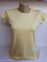 Женская футболка однотонная кремовая Турция р. 42-46 оптом