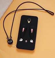 Чехол Funny-Bunny 3D для Meizu M2 note Бампер резиновый черный